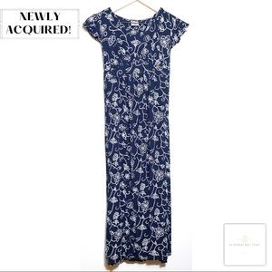 Navy Floral Adorable Cap Sleeve Maternity Dress